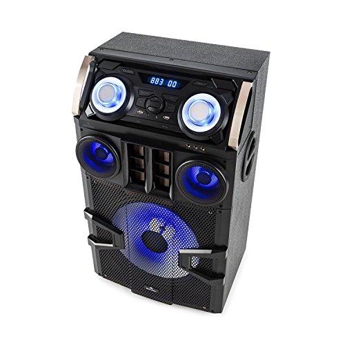 Malone Big Party 1500 Mobile PA Anlage PA-Lautsprecher (150 Watt RMS, Bluetooth, Lichteffekte, Bassreflexgehäuse, umfassende Anschlussmöglichkeiten, Karaoke-Funktion) (Veranstaltungen Halloween 2017)