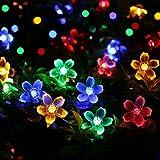 Dax-Hub 7M 50LED luci stringa solare del LED con multi-colore del fiore di ciliegia per il Natale, Patio, Prato, Recinto, esterno, decorazione perfetta per la casa, esterna, Albero di natale, Centro commerciale, Holiday & Festival Celebration (7M50LED, Multi-Colori)