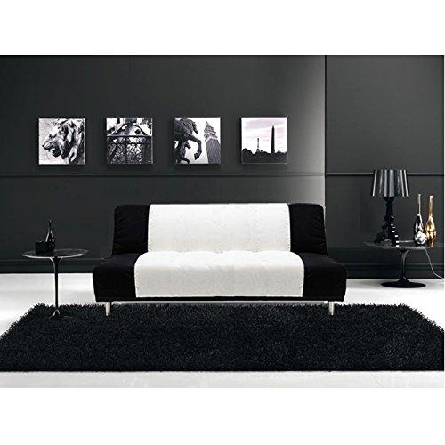 Divano letto sofà 175x77 3 posti bicolore bianco nero antiribaltamento salotto soggiorno