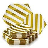 SERVIZIO DA TAVOLA MONOUSO PER FESTE 36 PZ | 18 Piatti | 18 Piattini | Piatti di Carta Pesante | Design Esagonale | per Matrimoni e Cene di Classe (Collezione Stripe – Bianco/Oro)