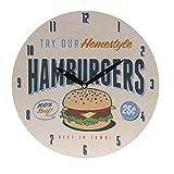 Küchen-Wanduhr American Style Retro, Ø 28 cm, Motiv Hamburgers