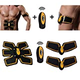 Selenechen Fitness Training Gear, Abdominal Toning Belt, Core Training Fat Loss Belt Waist Trainer, ABS Toner Body Muscle Trainer, Abs Fit Training, Unisex Smart Home Fitness Apparatus Support for Arm / Abdomen / Thight (Wireless – Yellow)