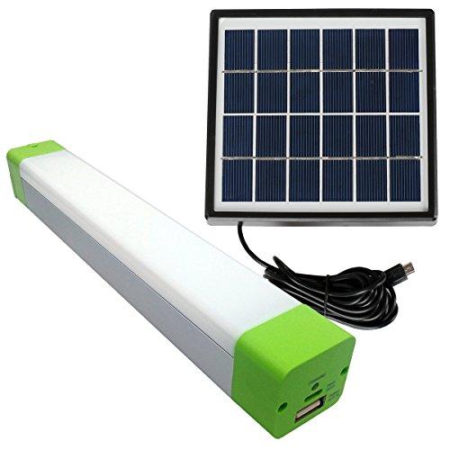 TakoStore Tragbares Solar LED Light Bar-Notlicht USB wiederaufladbar für Camping/Wandern/Angeln/SOS Flashing mit 2600mA Li Akku als Power Bank für Handys (grün Gap) (mit Solarpanel)