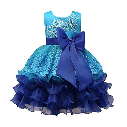 Topgrowth bambine ragazze senza maniche ricamo fiore abiti da sposa ballo abito matrimonio bowknot vestito per compleanno festa 3-7 anni (blu, 130)
