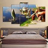 WOKCL Impression sur Toile Toile Décor À La Maison Peinture Cadre Modulaire Canne À Pêche Photos HD Prints 5 Pièces De Pêche Affiche de Poisson Salon Salon Mur Art