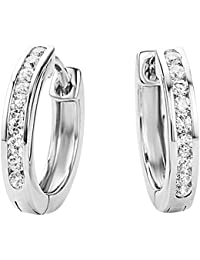 Miore 925 Sterling Silver Loop Earrings with 18 clear Zirconia Crystals for Women, 4.5 x 16mm