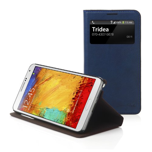 Tridea Samsung Galaxy Note 3 Italian View Card Pocket Standing Case - Navy