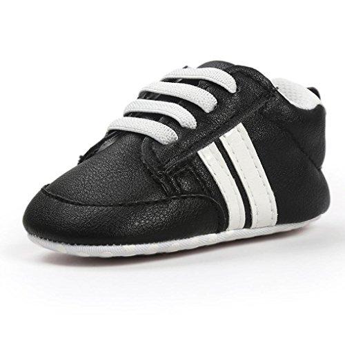 Turnschuhe Babyschuhe Neugeborenen Leder T-Strap Schuhe Sportschuh Jungen Lauflernschuhe Mädchen Krippeschuhe Krabbelschuhe Streifen-beiläufige Wanderschuhe LMMVP (Schwarz 1, 12CM (6~12 ()