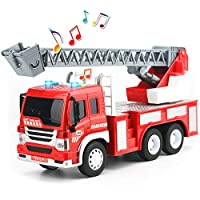 HERSITY Fire Engine Truck Toys Push and Go Engineering Vehicle Emergency Rescue Ladder Truck with Lights and Sounds Construction Car Toys for Kids Boys