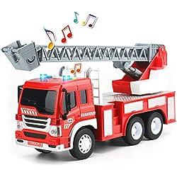 HERSITY Camion de Pompier Véhicule avec Son et Lumière Jouet de Voiture Plastique Jeu Educatif Cadeau pour Enfant