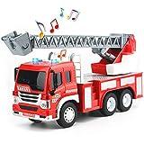 HERSITY Camion dei Pompieri Grande con Scala Allungabile 1/16 Attrito Autopompa Macchinine Giocattolo con Luci e Suoni per Bambini Ragazza Ragazzo