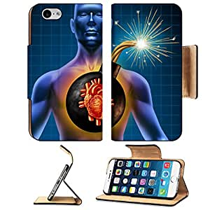 Liili Premium Apple iPhone 6 iPhone 6S Flip Pu Leather Wallet Case IMAGE ID: 11840317 Human heart attack time as a symbol of urgent health problems due to poor cholesterol level