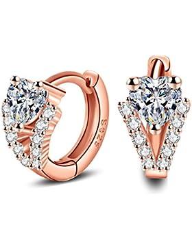 Wiftly Damen Klapp-Creolen Rosegold Zirkonia Ohrringe Creolen mit Kristallen 925 Sterling Silber