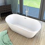 AcquaVapore freistehende Badewanne Wanne Whirlpool FSW11 170cm mit Luftmassage, Armatur:mit Armatur AFSW02 +170.-EUR