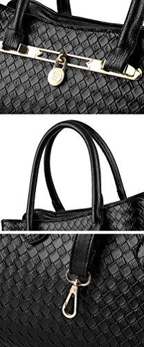 YAANCUN Donna Elegante Da Donna Cerniera Design Handbag Shoulder Bag Tote Bag 3 Pezzi Nero