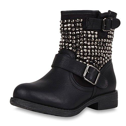 napoli-fashion Damen Stiefeletten Stiefel Biker Boots Nieten Warm Gefüttert Schuhe Schwarz 38 Jennika