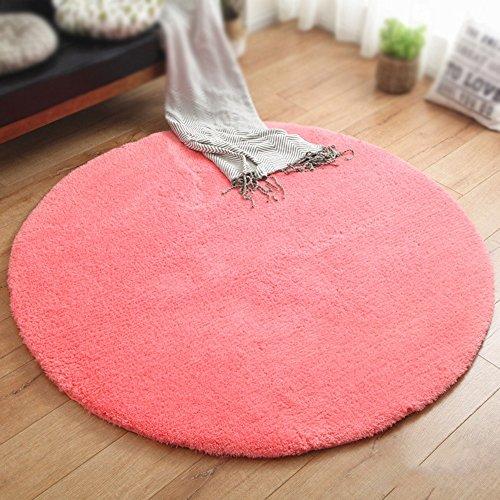 Einfarbig runde teppich / dicke 4 cm teppich / wohnzimmer wohnzimmertisch schlafzimmer nacht teppich / kinder zelt teppich / pet pad / korb stuhlmatte ( Farbe : Pink , größe : Diameter 100cm )
