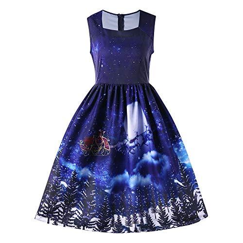 Weihnachtskleid Damen Elegant Kleider Weihnachten Elch Schnee Bäume -