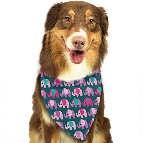 Wfispiy Rosa Elefant-Muster-Ostern-Hundebandana-umkehrbare Dreieck-Lätzchen für Hundehaustiere -