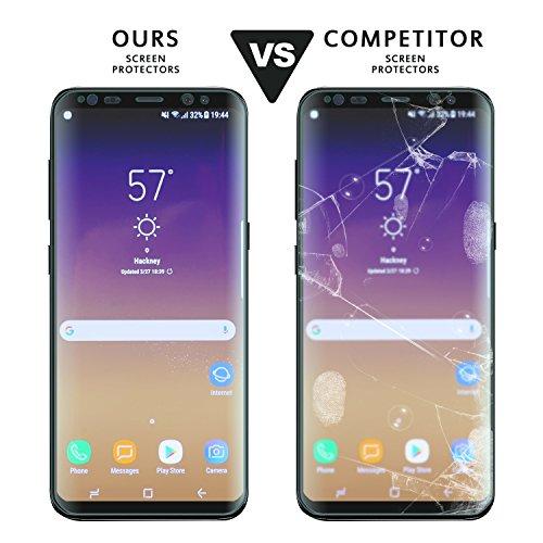 Protector de Pantalla Galaxy S8  Zcen [2 Pack] 3D Full Coverage HD Cristal Templado Protector de Pantalla 9H Dureza Anti rasguños Vidrio Templado Protector para Samsung Galaxy S8   Transparente