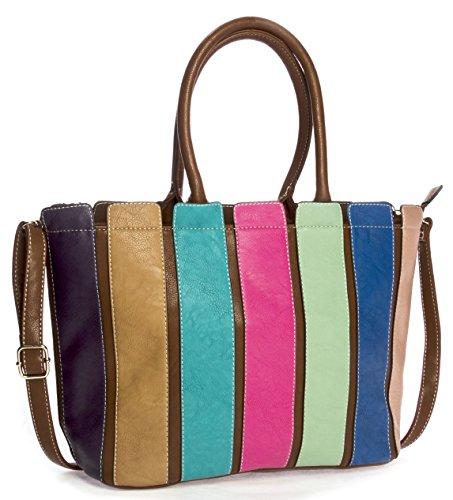 Big Handbag Shop Sac à main bandoulière d'été pour femme Rayures multicolores