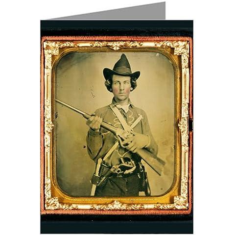 Sei Vino lettura biglietti di auguri il soldato konföderierten Cavalleria in uniforme con chiusura schrägen Sharps, due coltelli e due Revolver-ambrotype/Tintype a moschettone in la guerra civile - Civile Coltello Guerra