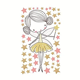 Cartoon wall stickers children's nursery bedroom Cute Angel Girl Magic Fairy Removable Wall Decor Painting Supplies Wall Treatments Stickers For Girls Kids Living Room Bedroom Kindergarten wall art ro
