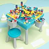 Arkmiido Ensemble de Table de Jeu 5 en 1 pour Enfants, 200 Blocs de Construction, Ensemble de Table et d'Une Chaise Multi-Usa