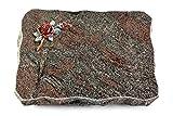 MEMORUM Grabmale Grabplatte, Grabstein, Grabkissen, Urnengrabstein, Liegegrabstein Modell Pure 40 x 30 x 5 cm Paradiso-Granit, Poliert inkl. Gravur (Bronze-Color-Ornament Rose 1)