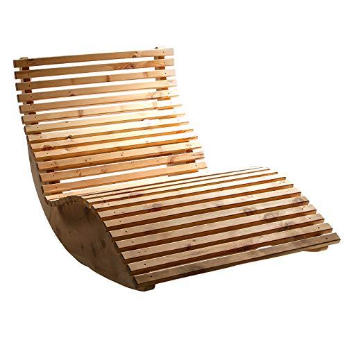 TUGA - Holztech Naturprodukt unbehandelt 40mm Massive Zirben Holz Schaukelliege Relaxliege Massivholzliege Liege Formliege Sauna EXTRA LIEGELÄNGE Himmelsliege