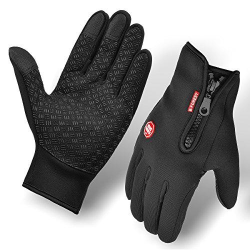 Guantes de ciclismo, BCMRUN impermeable a prueba de viento antideslizante con pantalla táctil de tamaño ajustable invierno al aire libre guantes de bicicleta unisex (Large)