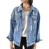 MOIKA Damen Jeansjacke, Frauen-Herbst-Winter-Denim-Jacken-Weinlese-Lange Hülsen-Lose Jeans-Mantel Outwear (S, Blau)