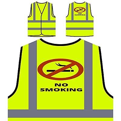 Rauchen kein Rauch lustig Neuheit neu Personalisierte High Visibility Gelbe Sicherheitsjacke Weste k45v