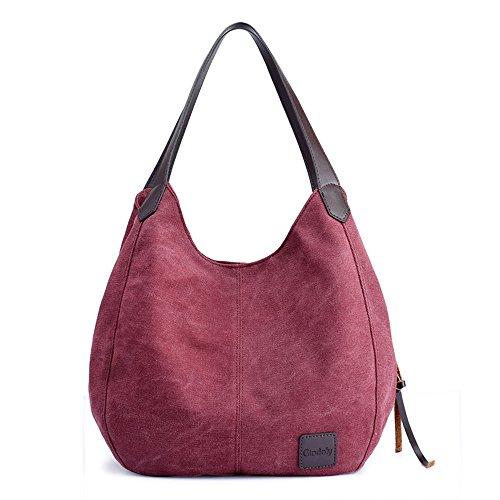 Gindoly Damen Canvas Handtasche Klein Vintage Shopper Schultertasche Henkeltasche Hobo Tasche Beuteltasche (Weinrot)