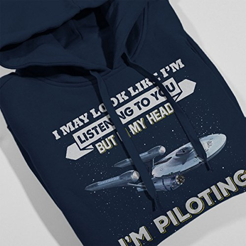 I May Look Like USS Enterprise Star Trek Women's Hooded Sweatshirt Navy Blue