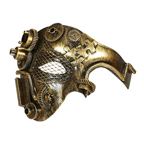 Amakando Auffällige Retro-Maske Steam-PunkMaske / Kupfer-Metallic / Schöne Cyberpunk Augenmaske / Passend gekleidet zu Fasching & Karneval