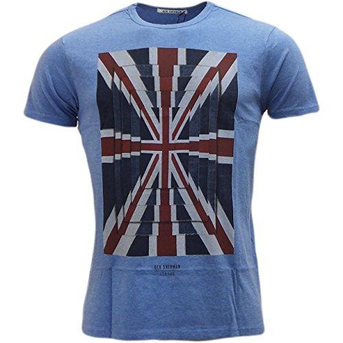 Ben Sherman Herren-T-Shirt mit Union-Jack-T-Shirt, kurze Ärmel, M, L, XL, XXL Blau - Sky Marl