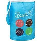 HOKIPO Polyester Blue Foldable Laundry Bag, 48 L