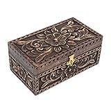 Store Indya, Bigiotteria in legno scatola di immagazzinaggio Organizzatore con la mano Cut floreali Sculture