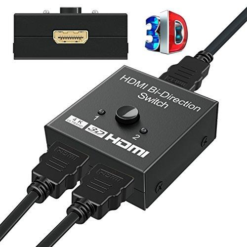 HDMI Switch & HDMI Splitter, GANA HDMI Umschalter Bidirektionaler 2 IN 1 OUT oder HDMI Verteiler 1 IN 2 OUT unterstützt 4K 3D 1080P HDMI Schalter für HDTV/Blu-Ray player/Fire Stick/Xbox/PS3