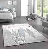 Kinderteppich Teppich Kinderzimmer mit Bergen in Pastel Blau Grau Größe 80x150...