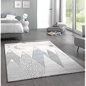 Kinderteppich Teppich Kinderzimmer mit Bergen in Pastel Blau Grau Größe 80×150 cm