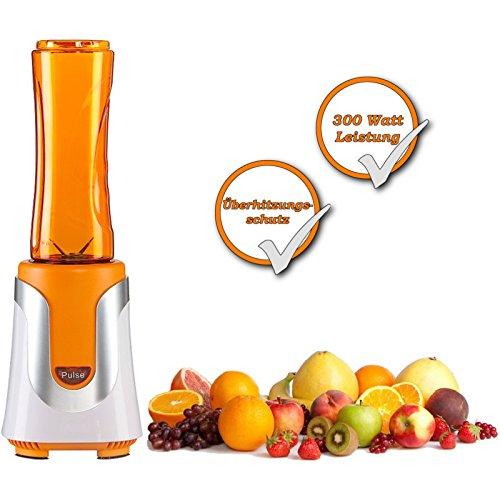 SMOOTHIE-Mixer + 2 Trinkflaschen , Obstsäfte oder Joghurt-Mix in Sekunden zubereiten + in der Mixerflasche direkt mitnehmen , ALL IN ONE Mixer mit 2Flaschen + Deckel (orange) (Joghurt-maker Mix)