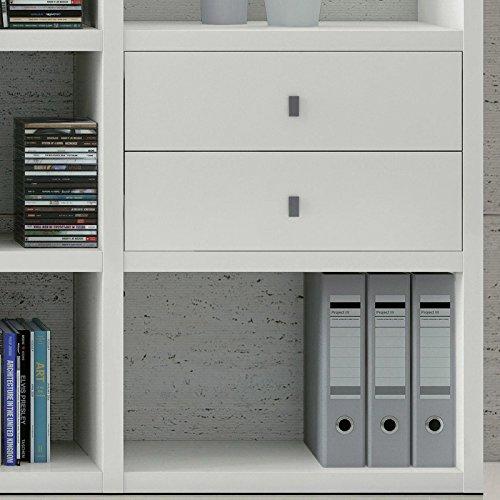 Wohnwand Bücherregal CD DVD Regal TOLEO238 weiß lackiert LED - 2