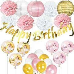 Idea Regalo - Cebelle Decorazioni per feste di compleanno, striscioni scintillanti di compleanno d'oro, lanterne di carta, fiori in tessuto, palloncini di coriandoli, decorazioni per feste, oro rosa e bianco per addio al nubilato, decorazioni per la casa