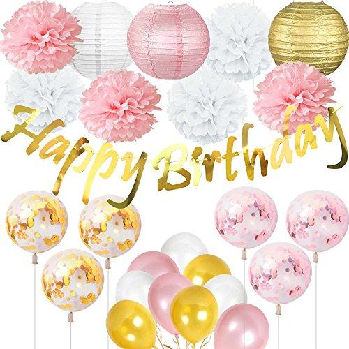 Cebelle Decoraciones Fiesta cumpleaños, Banner cumpleaños Oro Brillante, linternas, Flores de Tejido, Globos de Confeti, Suministros Rosa Dorado y Blanco para Despedida de Soltera