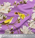 Soimoi Lila schwere Leinwand Stoff Blumen & Blätter Vogel