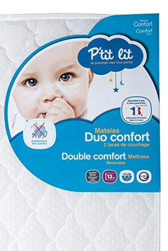 P'tit Lit - Matelas bébé Duo Confort - Anti-acariens - Fabrication française