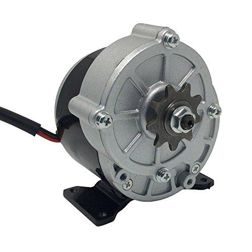 Motor de patinete DC 24 V 36 V motor cepillado 350 W alta 380 RPM con piñón 9 dientes y paso 12,7 mm para bicicleta eléctrica, 380 RPM, 36V