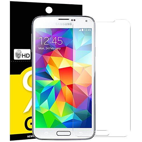 Verre Trempé Samsung Galaxy S5, NEWC® Film Protection en Verre trempé écran Protecteur vitre ANTI RAYURES SANS BULLES D'AIR Ultra Résistant Dureté 9H Protector pour Samsung Galaxy S5
